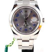 Rolex Datejust II silver dial blue arab 116300 NEW
