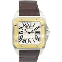 Cartier Men's Cartier Santos 100 18k Gold & Stainless...