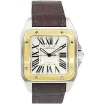 Cartier Men's Cartier Santos 100 18k Gold & Stainless...