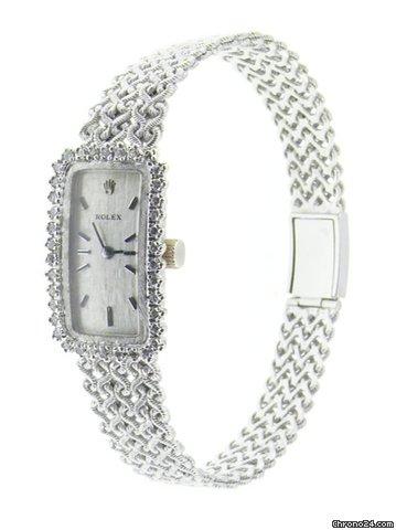 Rolex Vintage 18k White Gold Diamonds Ladies Watch On Mesh Bracelet Wow