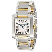Cartier Large Tank Francaise SS & 18K Yellow Gold BLACK...