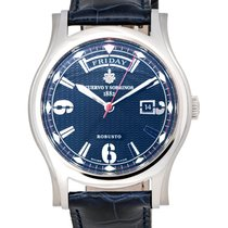 Cuervo y Sobrinos Robusto Day Date Blue Dial Automatic Men's...