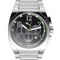 Puma Drive Chronograph - Stainless - Black Face with Green...