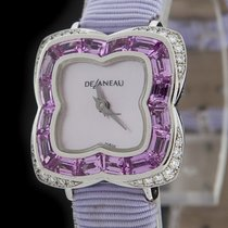 DeLaneau White Gold Clover Butterfly Jeweled Watch