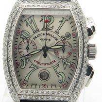 Franck Muller Conquistador 8001 Steel W/ Custom Diamond Bezel...