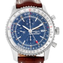Breitling Navitimer World Gmt Steel Blue Dial Brown Strap...