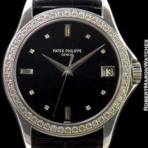 Patek Philippe 5108g 18k White Gold Calatrava Diamond Bezel...
