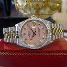 Rolex Oyster Perpetual Date Diamond Dial & Bezel Yellow...