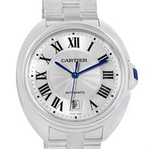 Cartier Cle Silver Guilloche Dial Stainless Steel Mens Watch...