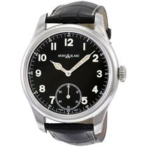 Montblanc 1858 Black Dial Leather Strap Men's Watch