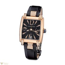 Ulysse Nardin Caprice 18k Rose Gold Diamonds Black Satin...