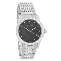Gucci 126 G-Timeless Unisex Diamond Black Date Dial Swiss...