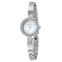 Bulova Crystal White Mother of Pearl Dial Ladies Stainless...