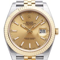 Rolex Datejust 41 Champagne Dial 18ct Yellow Gold Steel Links...