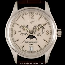Patek Philippe 18k White Gold Cream Enamel Dial Annual...