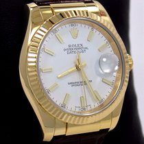 Rolex Datejust 116138 18k Yellow Gold Leather Strap Men's...