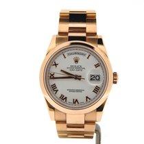 Rolex 18k Gold Day-date President White Roman 118205