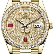Rolex Day-Date 40 228348RBR Diamond Pave Ruby Yellow Gold...