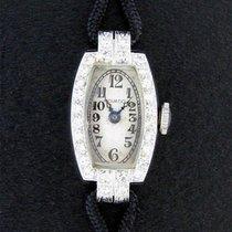 Movado Vintage Ladies 14k White Gold Diamond Bezel Watch