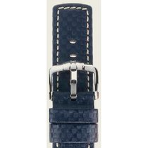 Hirsch Uhrenarmband Leder Carbon blau L 02592080-2-22 22mm