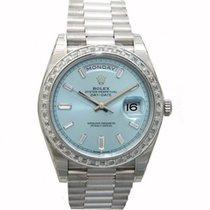 Rolex Day-Date 40 228396TBR Ice Blue Diamond Bezel Baguette...