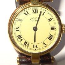 Cartier Vendome 24mm 18K Vermeil Quartz Watch Creme Roman Dial...