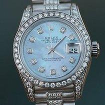 Rolex Watch Ladies Datejust 18k White Gold Diamond Band Bezel...