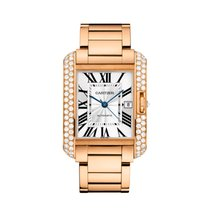 Cartier Tank Anglaise Pink Gold With Diamonds Ret: $70,500
