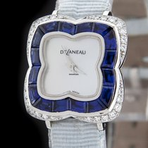 DeLaneau White Gold Clover Diamond Sapphire Watch