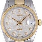Rolex Datejust Midsize Men's/Ladies 2-Tone Watch Silver...