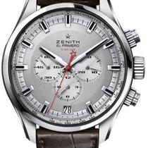 Zenith El Primero Sport Silver Dial 45mm Watch with Alligator...