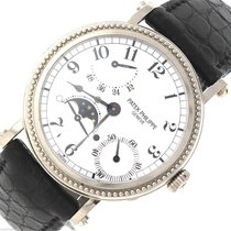 Patek Philippe MoonPhase 18K White Gold Black Croc 5015 Watch