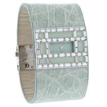 Valentino Crystal Ladies Wide Mint Cuff Leather Swiss Quartz...