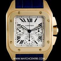Cartier 18k Yellow Gold Silver Roman Dial Santos 100 Chrono XL...