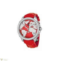 Jacob & Co. Red Stainless Steel Diamonds Leather Unisex Watch