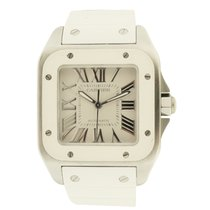 "Cartier ""Santos 100″ Stainless Steel and Rubber Automatic"