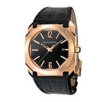 Bulgari Octo Mens 18K Pink Gold Automatic Black Dial Watch...