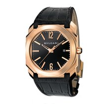 Bulgari Octo Mens 18K Pink Gold Automatic Black Dial Watch...