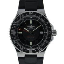 Breitling Superocean Gmt Stainless Steel With Black Dial On...