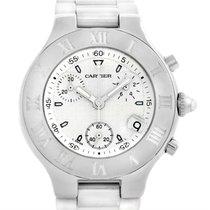 Cartier Must 21 Chronoscaph White Rubber Mens Watch W10184u2