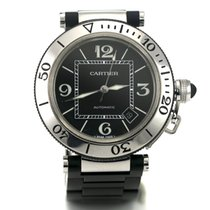 Cartier Pasha Seatimer Stainless Steel Black Rubber Strap Date...