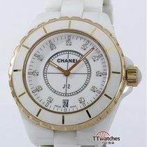 Chanel J12 White Ceramic Rose Gold Diamond Dial H2180
