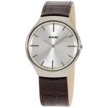 Rado True Thinline Silver Dial Brown Leather Mens Watch R27955105