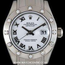 Rolex 18k W/G O/P Diamond Bezel Pearlmaster Datejust B&P...