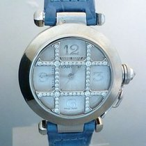 Cartier pasha ladies automatic white gold diamonds Silver...