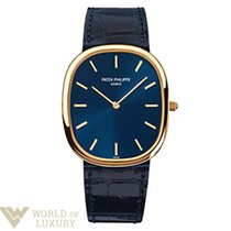 Patek Philippe Golden Ellipse 18k Yelow Gold Leather Men's Watch