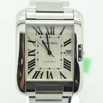 Cartier Mens Xl Large Tank Anglaise Automatic Steel Watch...