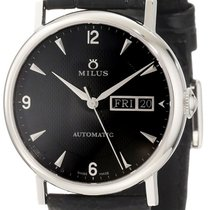 Milus XEP001 Tirion Classic in Steel - on Black Leather Strap...