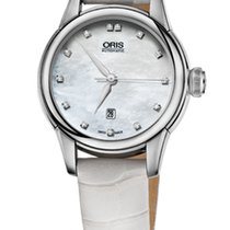 Oris Artelier Date Diamonds Nacre Dial White Leather