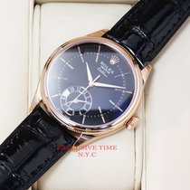 Rolex Cellini Dual Time Rose Gold Black Dial NEW MODEL 50525